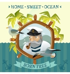 Old sailor with smoking pipe helm and seagulls vector