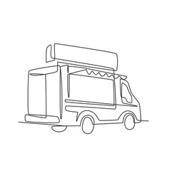 one single line drawing vintage food truck for vector image