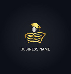 open book university education gold logo vector image