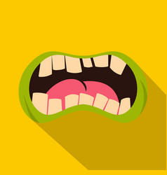 Open zombie mouth icon flat style vector