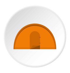 Orange tourist tent icon circle vector