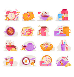 People morning icon set vector
