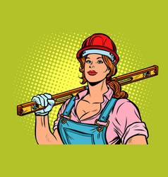 pop art woman builder with level vector image