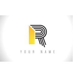 r black lines letter logo creative line letters vector image
