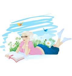 reading girl ingrass vector image