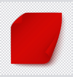 Red paper banner square sticky page with turn up vector
