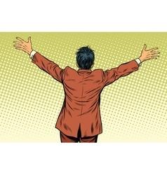 Retro man worth spread wide his arms back vector