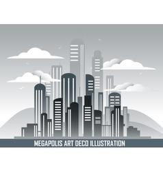 Retro megalopolis in art deco style vector