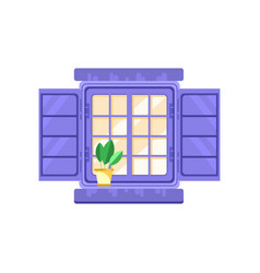 Retro window with blue shutters architectural vector