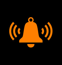 ringing bell icon orange icon on black background vector image