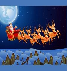 Santa riding his reindeer sleigh flying in the sky vector