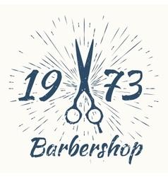 Scissors and vintage sun burst frame Barbershop vector