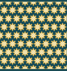 seamless pattern in gold color on a dark green vector image
