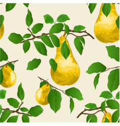 seamless texture branch of pears with yellow pear vector image