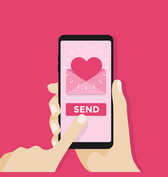 Send love sms letter email with mobile phone vector