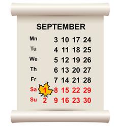 September 1 beginning of autumn maple leaf on vector