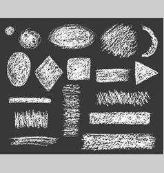 set chalk shapes hatched on dark vector image