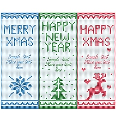 Set knitted banners with copy space vector