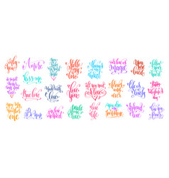 set of 25 hand lettering inscription to valentines vector image