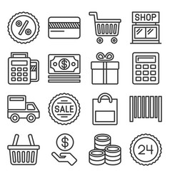 shopping icon set on white background line style vector image