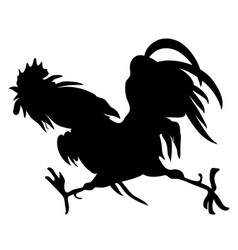 silhouette a running cock vector image