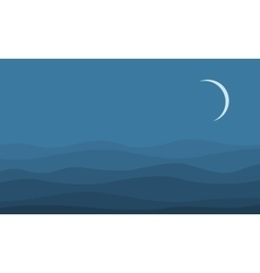 Silhouette of desert at the night landscape vector