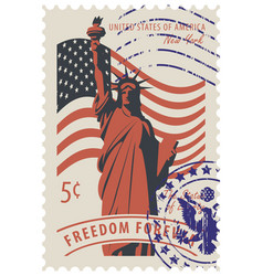 Statue of liberty in background of american flag vector