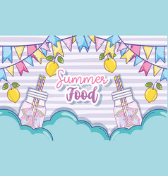 Summer food and juices vector