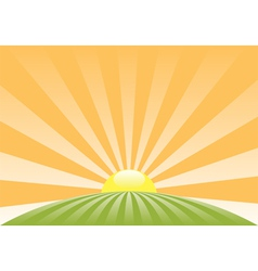 Sun sky retro meadow roundN vector