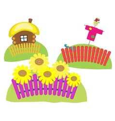 Sunflowers Scarecrow village house vector