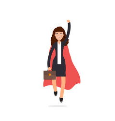 superhero businesswoman in red cloak character vector image