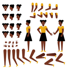 teen african girl creation set - various body vector image