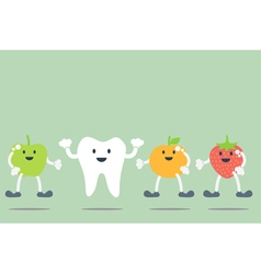 teeth and fruit best friend vector image