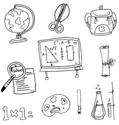 Tools at schoool in doodle vector