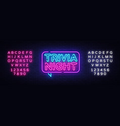 trivia night announcement neon signboard vector image