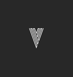 V logo letter initial monogram thin line black vector
