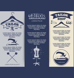 vintage tailor shop flyers template design vector image