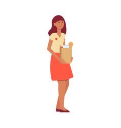 Volunteer woman giving food donation vector