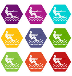 Water skiing man icon set color hexahedron vector