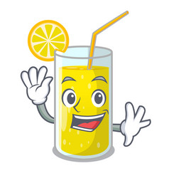 Waving glass fresh lemon juice on mascot vector