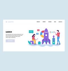 web site design template rocket launch vector image