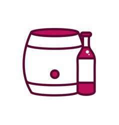 wine bottle and barrel celebration drink beverage vector image