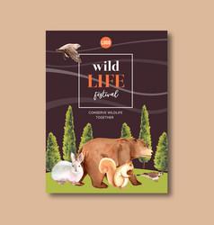 Winter animal poster design with bear bird vector
