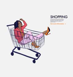 Woman in shopping cart fashion afro girl in jumbo vector