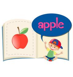 Word apple on children book vector