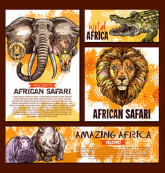 Zoo sketch poster wild african animal vector