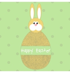 Happy easter poster egg with hare vector image vector image