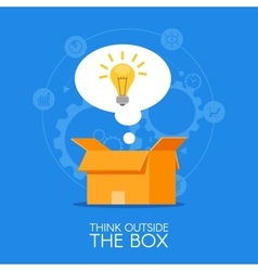 Thinking out of the box concept background vector image vector image