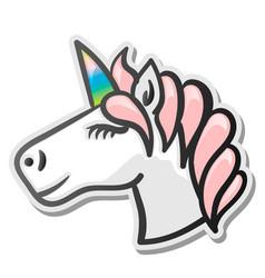 unicorn emoji sticker vector image