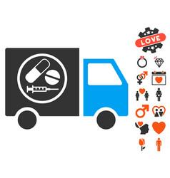 drugstore truck icon with valentine bonus vector image vector image
